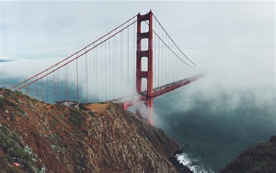 Wallpaper Golden Gate Bridge, San Francisco, USA, morning, fog