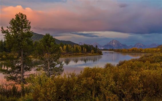 Обои Гранд-Титон парк, штат Вайоминг, США, река, горы, лес, осень