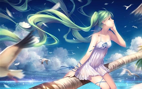 Papéis de Parede Hatsune Miku, verde cabelo anime girl, gaivotas, mar