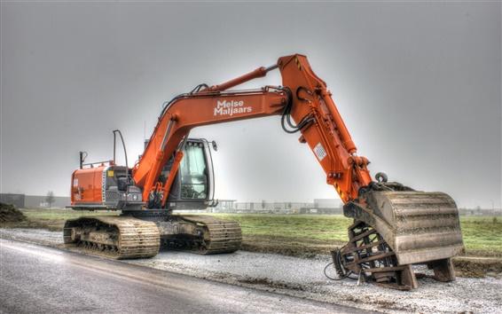 Wallpaper Hitachi excavator, construction machinery