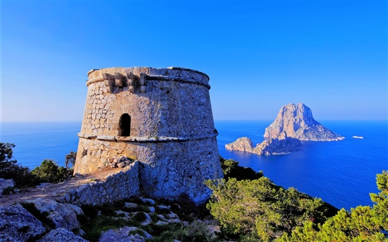 Wallpaper Ibiza, Balearic Islands, Spain, rock, tower, fortress, sea, blue sky