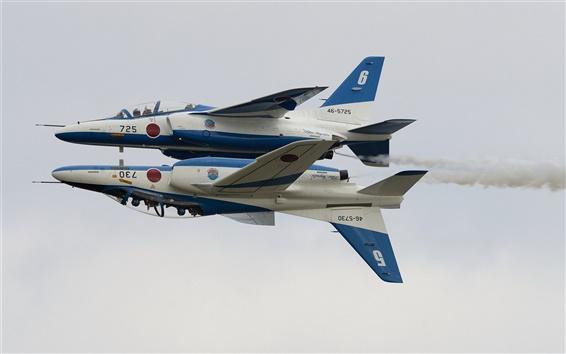 壁紙 川崎T-4、ブルーインパルス、曲技飛行グループ、航空機