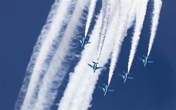 Fond d'écran Kawasaki T-4, Bleu Impulse, un groupe de voltige aérienne, ciel, fumée