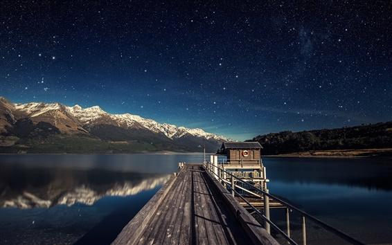 배경 화면 호수, 부두, 산, 하늘, 별, 밤