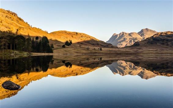 Wallpaper Lake, sky, mountains, trees, water reflection