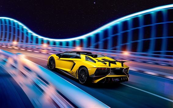 Wallpaper Lamborghini Aventador LP750-4 SuperVeloce, yellow supercar speed