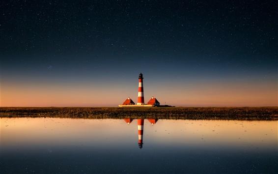 Обои Маяк, небо, звезды, море, вода отражения