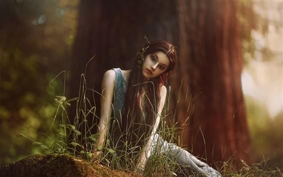 배경 화면 요정처럼, 숲에서 소녀, 긴 머리