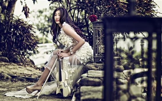 Wallpaper Long hair Asian girl, violin, music, stones, rose