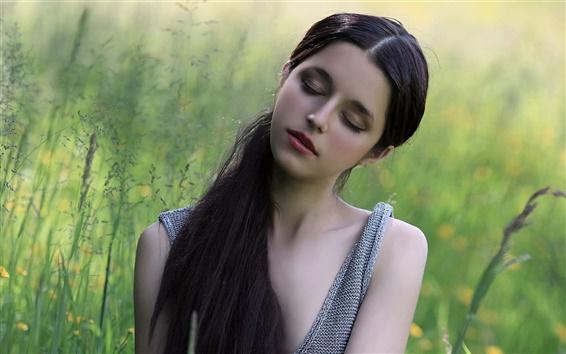Wallpaper Long hair girl, dream, close eyes, nature