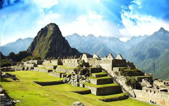 Wallpaper Machu Picchu, Peru, the lost Inca city, ruins, travel