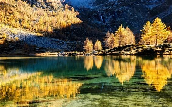 Wallpaper Mountains, trees, lake, water reflection, autumn, sunset