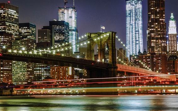 Обои Нью-Йорк, США, город ночью, мост, огни, здания