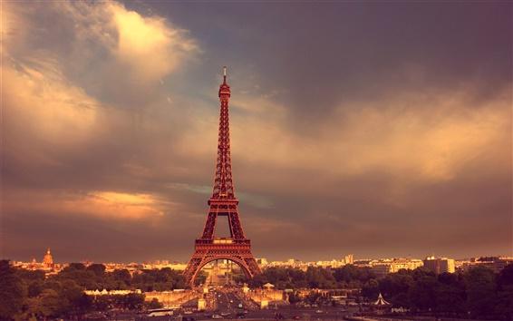 Wallpaper Paris, Eiffel Tower, France, road, cars, dusk