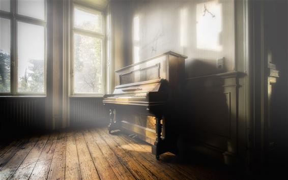 Wallpaper Piano, music, room, sun rays