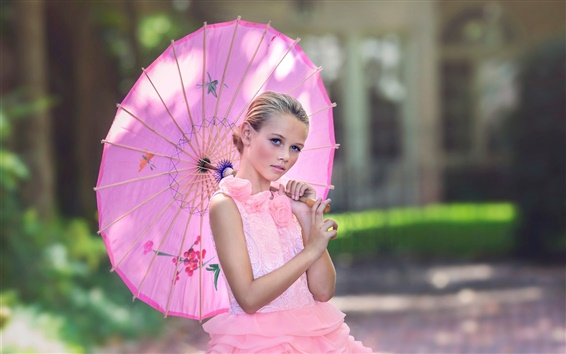 Wallpaper Pink dress girl, umbrella, bokeh