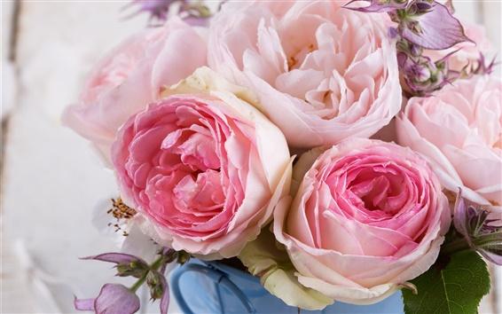 Wallpaper Pink roses, flowers, bouquet
