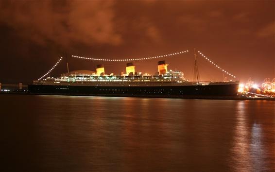 Wallpaper Queen Mary 2 cruise, evening