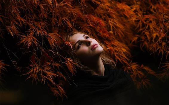Wallpaper Red hair girl, grass, black dress