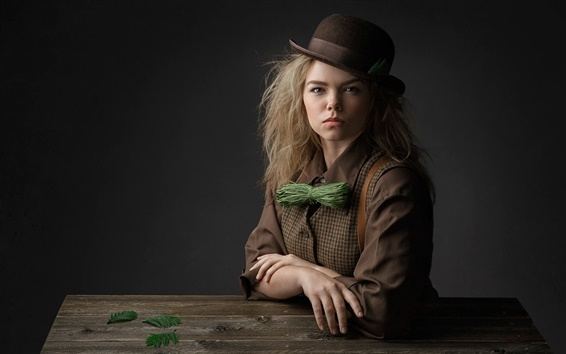 Wallpaper Retro style, girl, hat