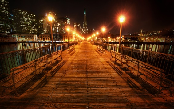 Wallpaper San Francisco, California, USA, beautiful night, bridge, lights