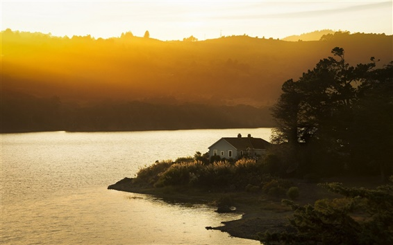 Wallpaper San Mateo, California, USA, sunset, lake, house, sunlight