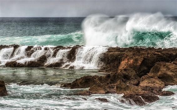 Wallpaper Sea, ocean, reefs, waves, storms