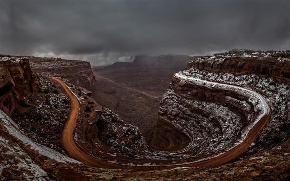 Wallpaper Shafer Canyon, Utah, USA, endless road