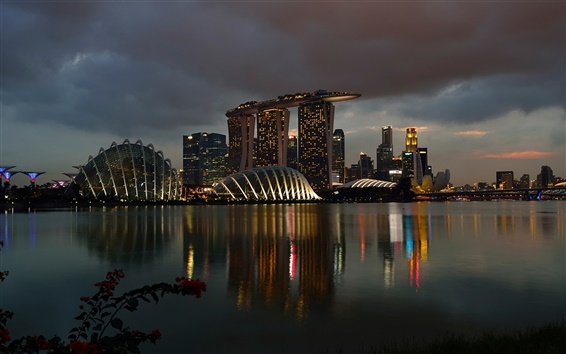 Wallpaper Singapore, Marina Bay Sands, night, lights, buildings, casino