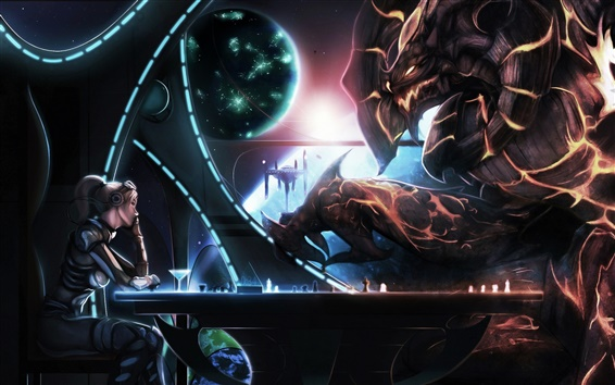 Wallpaper Starcraft, Heroes of the Storm, girl with monster