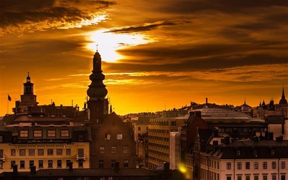 Wallpaper Stockholm, Sweden, morning, dawn, houses, buildings, city