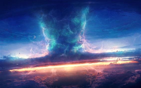 Fond d'écran Tempête, ciel, nuages, vaisseau spatial, une tornade, la conception de l'art