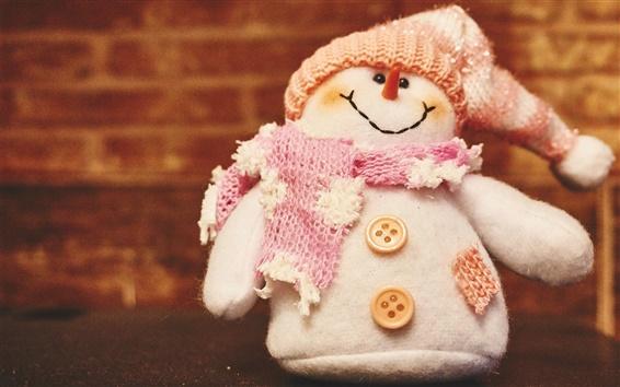 Fondos de pantalla Muñeco de peluche, muñeco de nieve, bufanda, sombrero, botones, invierno