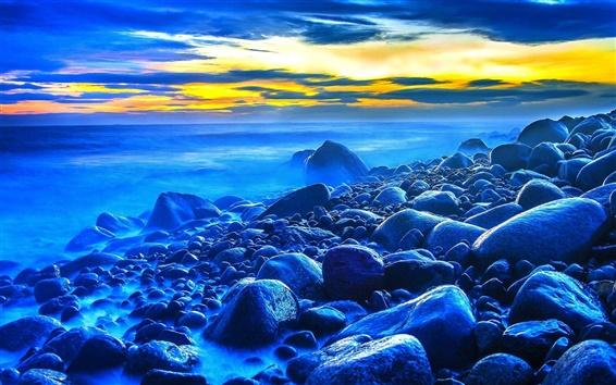Wallpaper Sunset, sea, stones, dusk, blue style