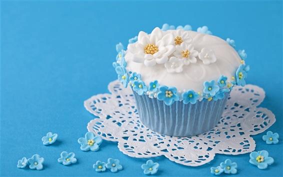 Fond d'écran Sucrés, gâteaux, fleurs, fond bleu