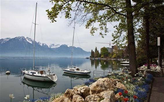Wallpaper Switzerland, Montreux, sailing, boats, coast, mountains, houses