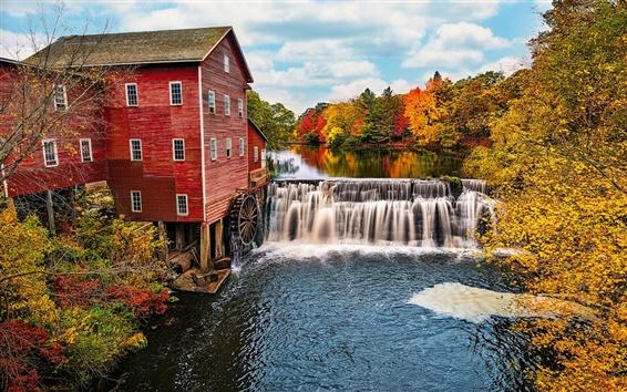 Wallpaper USA, Wisconsin, water mill, river, waterfalls, trees, autumn