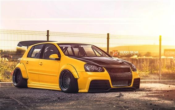 Wallpaper Volkswagen Golf yellow car