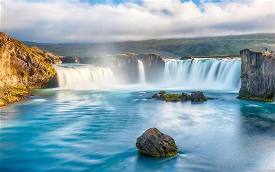 Fond d'écran Cascades, rivière, beau paysage, rivière, pierres, nuages