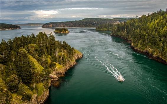 Обои Уидби-Айленд, Пьюджет-Саунд, Вашингтон, США, лодка, лес, облака