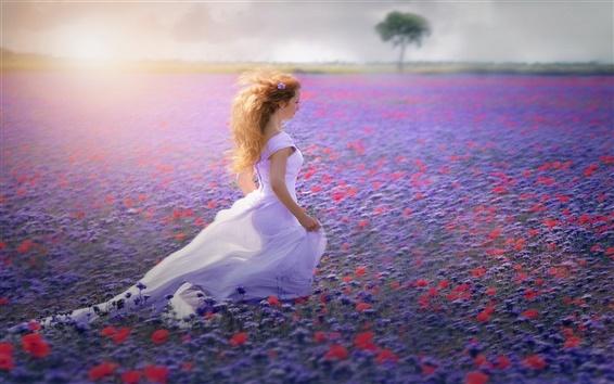 Fond d'écran Robe blanche fille, champ de fleurs