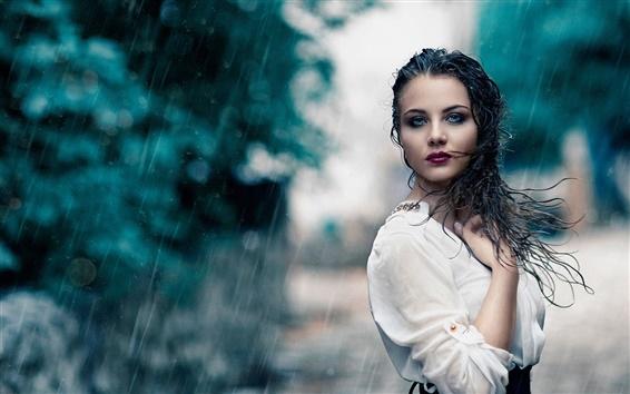 Wallpaper White dress girl in rain, wet