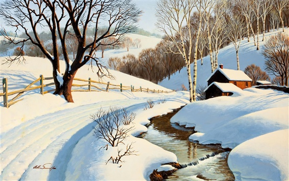 Wallpaper Winter scenery painting, stream, house, road, trees, snow