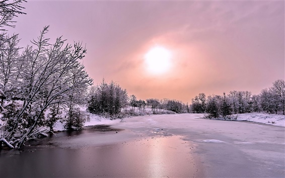 Wallpaper Winter, snow, forest, river, ice, sun, clouds, dusk