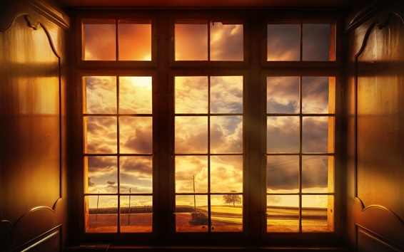 Wallpaper World outside the window, clouds, dusk
