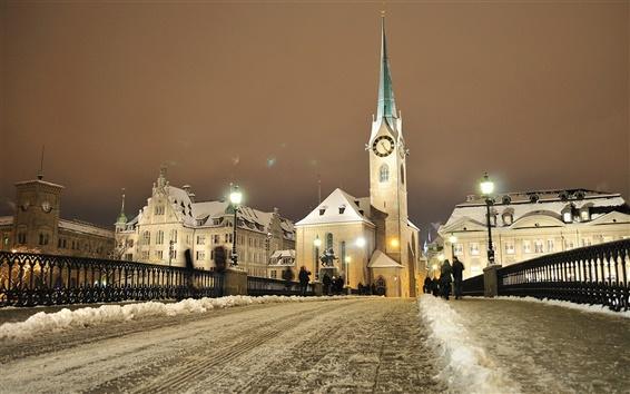 Обои Цюрих, Швейцария, дом, люди, зима, снег, ночь, огни