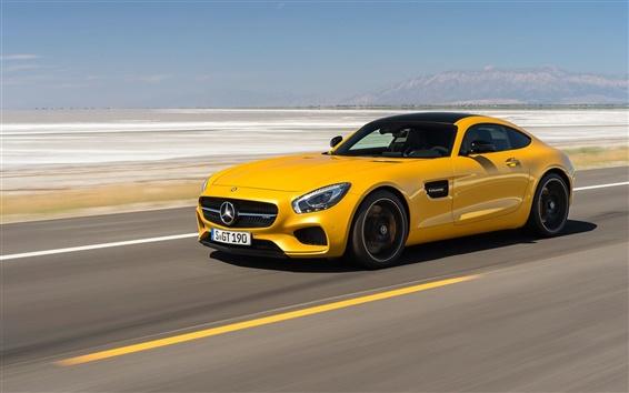 Wallpaper 2014 Mercedes-Benz AMG GT C190 yellow supercar speed