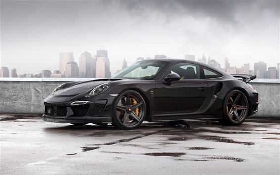 Wallpaper 2014 Porsche 911 Carrera Turbo, Stinger GTR 991 black car