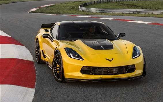 Fond d'écran 2,015 Chevrolet Corvette Z06 C7.R édition supercar jaune