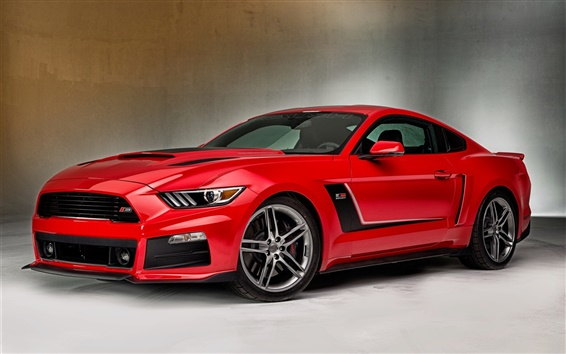 Обои 2 015 Ford Mustang красный суперкар вид сбоку